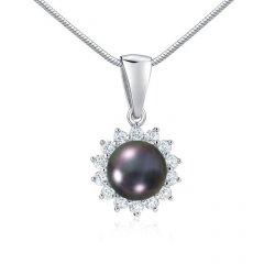 Stříbrný přívěsek s tmavou perlou