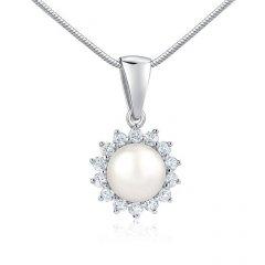Stříbrný přívěsek s bílou perlou