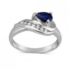 Stříbrný prsten VALERIA s přírodním safírem