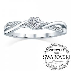 Stříbrný prsten Swarovski Zirconia® s liniemi