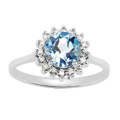 Stříbrný prsten s kulatým topazem a zirkony