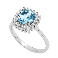 Stříbrný prsten s hranatým topazem a zirkony