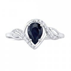 Stříbrný prsten AYNE s přírodním safírem