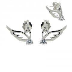 Stříbrné náušnice - křídla s puzetou