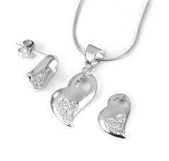 Stříbrná souprava Srdce - přívěsek a náušnice se zirkonem