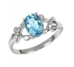 Stříbrný prsten s pravým topazem