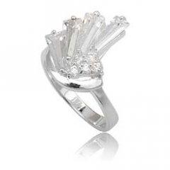 Stříbrný prsten s vějířem zirkonů - čirá