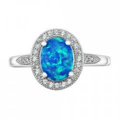 Stříbrný prsten LUNA s modrým opálem