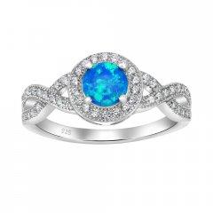 Stříbrný prsten CHERIE s modrým opálem