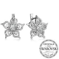 Stříbrné náušnice květiny se Swarovski® Zirconia
