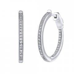Stříbrné kruhové náušnice se zirkony 22 mm