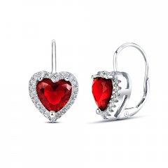 Stříbrné náušnice - srdce s červeným zirkonem