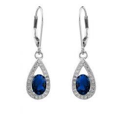 Stříbrné náušnice visací - safírově modrá