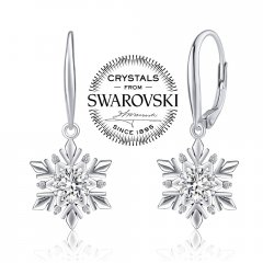 Stříbrné náušnice - sněhové vločky s krystaly Swarovski®