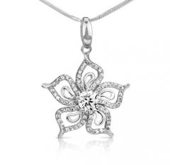 Stříbrný přívěsek se zirkony - květ