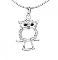 Stříbrný přívěsek - sova se zirkony