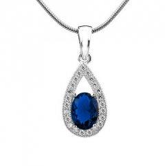 Stříbrný přívěsek - safírově modrá kapka