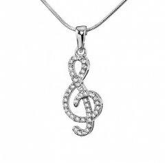 Stříbrný přívěsek - houslový klíč se zirkony