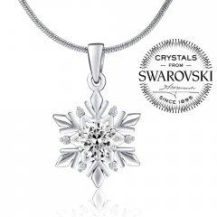 Stříbrný přívěsek - sněhová vločka s krystaly Swarovski®