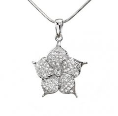 Stříbrný přívěsek se zirkony - květina