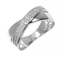 Stříbrný prsten s drobnými zirkony