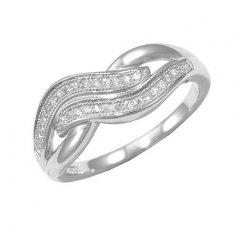 Stříbrný prsten se zirkony - oblé motivy