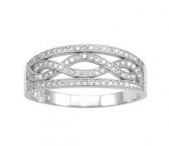 Stříbrný prsten se zirkony - vlnovky