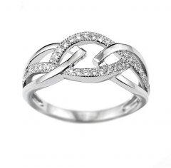Stříbrný prsten s proplétaným vzorem a zirkony
