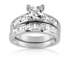 Stříbrný prsten - dva kroužky se zirkony