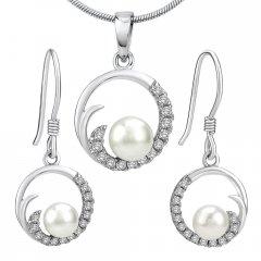 Stříbrná souprava VIVA s perlami a zirkony
