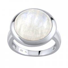 Stříbrný prsten s kulatým měsíčním kamenem