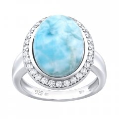 Stříbrný prsten s larimarem a zirkony