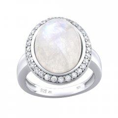 Stříbrný prsten s měsíčním kamenem a zirkony