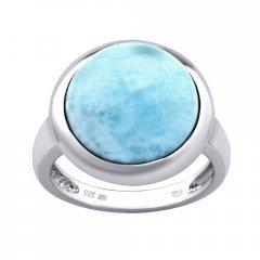 Stříbrný prsten s kulatým larimarem