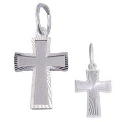 Stříbrný křížek s řezaným vzorem