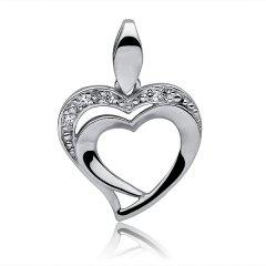 Dvojité stříbrné srdce se zirkony