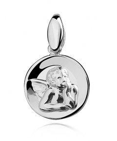 Stříbrný přívěsek - medailon s andělíčkem