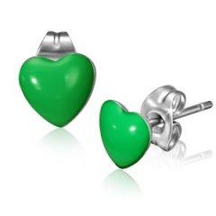 Ocelové náušnice - srdíčka zelená