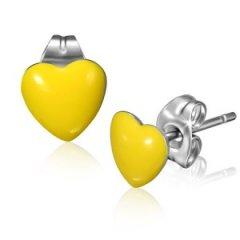 Ocelové náušnice - srdíčka žlutá