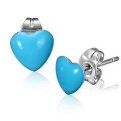 Ocelové náušnice - srdíčka modrá