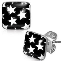Ocelové náušnice černobílé - hvězdičky