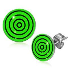 Ocelové náušnice - zelený terč