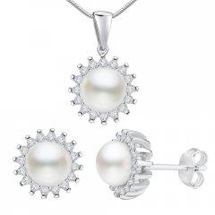 Stříbrná souprava VERA s perlami a zirkony