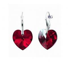 Náušnice Swarovski CRYSTALLIZED™ srdce 18 mm červená