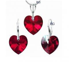 Souprava Swarovski CRYSTALLIZED™ srdce 18 mm červená
