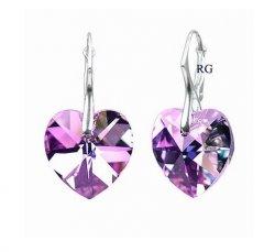 Náušnice Swarovski CRYSTALLIZED™ srdce 18 mm fialová