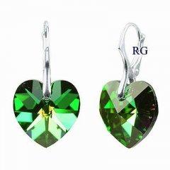 Náušnice Swarovski CRYSTALLIZED™ srdce 18 mm zelená duhová