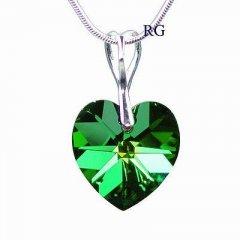 Přívěsek Swarovski CRYSTALLIZED™ srdce 18 mm zelená duhová