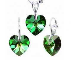 Souprava Swarovski CRYSTALLIZED™ srdce 18 mm zelená duhová