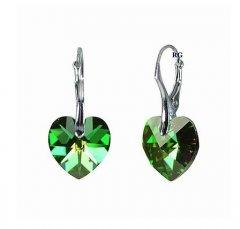 Náušnice Swarovski CRYSTALLIZED™ srdce 14 mm zelená duhová